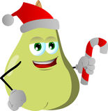 Pear holding a candy cane and wearing Santa's hat Royalty Free Stock Photo