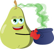 Pear holding cauldron with potion Stock Image