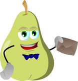 Pear holding an envelope Royalty Free Stock Photo