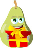 Pear holding gift box Royalty Free Stock Image