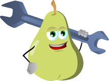 Pear holding a huge wrench Royalty Free Stock Image