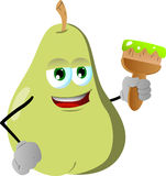 Pear holding a paint brush Royalty Free Stock Photography