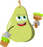 Pear holding a paint can and a paint brush Royalty Free Stock Photo