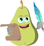 Pear holding paper scroll and feather Stock Photography