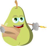 Pear holding pen and papers Royalty Free Stock Photography