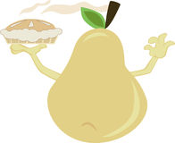 Pear holding a pie Stock Image