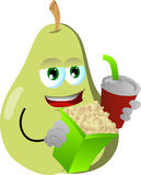 Pear holding popcorn and soft drink Royalty Free Stock Images