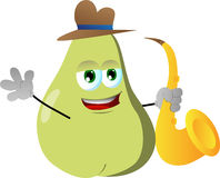 Pear holding saxophone Royalty Free Stock Image