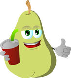 Pear holding soda and showing thumb up sign Royalty Free Stock Photography