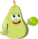 Pear holding a tennis ball Royalty Free Stock Photography