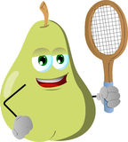 Pear holding a tennis rocket Stock Photo