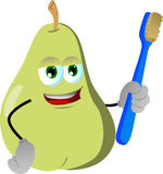 Pear holding tooth brush Royalty Free Stock Image