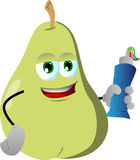 Pear holding toothpaste Stock Image