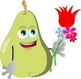 Pear holding tulip and other flowers Royalty Free Stock Photo