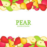 Pear Horizontal seamless border. Vector illustration card top and bottom Yellow red  green pears fruits whole  slice Stock Images