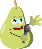 Pear hosting a show and talking into a microphone Royalty Free Stock Photography