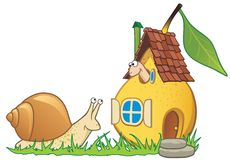Pear house, worm and snail