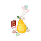 Pear with ice cream and balloons. Royalty Free Stock Photography