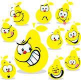 Pear icon cartoon with funny faces isolated Stock Image