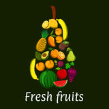 Pear icon with tropical and exotic fruits Royalty Free Stock Image