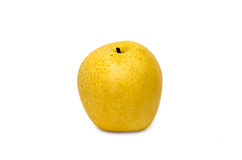 Pear (isolated). Round yellow pear on the white background Royalty Free Stock Photography