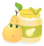 Pear and jam. Cute  pear and jam Stock Photography