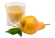 Pear juice. Glass of juice a pear and sheet isolated on the white Stock Images