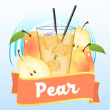 Pear juice. Or beverage label illustration with ribbon Royalty Free Stock Photo