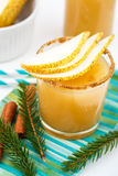 Pear juice with cinnamon in a glass Stock Photo