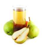 Pear juice with colorful pears. Pear juice with three and half colorful pears isolated on white Stock Image
