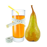 Pear juice and meter Royalty Free Stock Photos