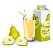 Pear juice set Stock Images