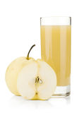 Pear juice and white pears Stock Photos