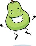 Pear Jumping. A cartoon pear jumping and smiling Stock Photos