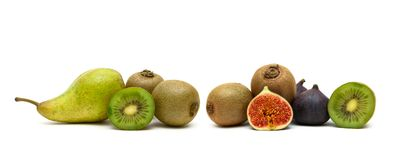 Pear, kiwi and figs on a white background Royalty Free Stock Images