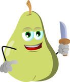 Pear with a knife Royalty Free Stock Image