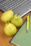 Pear and laptop Stock Image