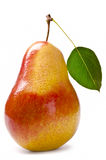 Pear with leaf isolated on white Royalty Free Stock Photography