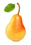 Pear with leaf. Ripe pear with green leaf isolated on white Stock Photo