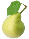 Pear with leaves. One Yellow reen ripe pear with leaves Stock Photography