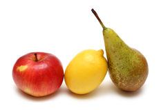 Pear lemon and apple. In row on white Stock Photography