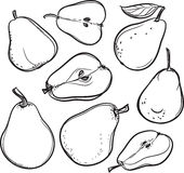 Pear Linje teckning av ett päron stock illustrationer