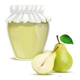 Pear marmalade in a jar and fresh pears Stock Images