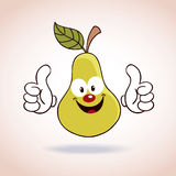 Pear mascot cartoon character Royalty Free Stock Image