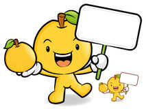 Pear mascot the hand is holding a picket and Fruit. Fruit Charac Royalty Free Stock Photos