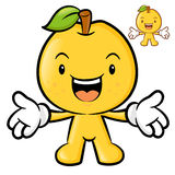The Pear mascot has been welcomed with both hands. Fruit Charact Stock Image