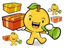 Pear Mascot the Left hand is holding a big box. Fruit Character Royalty Free Stock Photography