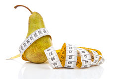 Pear with measure tape Stock Photos