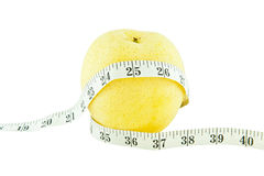 Pear measured the meter, weight loss concept Royalty Free Stock Images