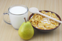 Pear,milk and cornflakes Stock Image